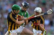 27 July 2019; Graeme Mulcahy of Limerick is tackled by Paul Murphy, left, and Conor Browne of Kilkenny during the GAA Hurling All-Ireland Senior Championship Semi-Final match between Kilkenny and Limerick at Croke Park in Dublin. Photo by Piaras Ó Mídheach/Sportsfile