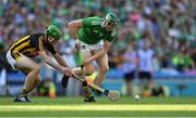27 July 2019; William O'Donoghue of Limerick is tackled by Joey Holden of Kilkenny during the GAA Hurling All-Ireland Senior Championship Semi-Final match between Kilkenny and Limerick at Croke Park in Dublin. Photo by Piaras Ó Mídheach/Sportsfile