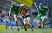 27 July 2019; Timmy Clifford of Kilkenny gets past Limerick players Colin Coughlan, left, and Aidan O'Connor during the Electric Ireland GAA Hurling All-Ireland Minor Championship Semi-Final match between Kilkenny and Limerick at Croke Park in Dublin. Photo by Piaras Ó Mídheach/Sportsfile