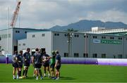 1 October 2019; Scrum coach Greg Feek speaks with his pack, including, from left, Sean Cronin, Tadhg Furlong, Jean Kleyn, Tadhg Beirne, Andrew Porter, and John Ryan during Ireland Rugby squad training at the Kobelco Steelers in Kobe, Japan. Photo by Brendan Moran/Sportsfile