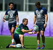 1 October 2019; Jack Carty, right, with kicking coach Richie Murphy as Joey Carbery looks on during Ireland Rugby squad training at the Kobelco Steelers in Kobe, Japan. Photo by Brendan Moran/Sportsfile