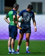 1 October 2019; Joey Carbery with team physio Keith Fox during Ireland Rugby squad training at the Kobelco Steelers in Kobe, Japan. Photo by Brendan Moran/Sportsfile