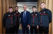 1 October 2019; Republic of Ireland manager Mick McCarthy meets Bohemians U19 players, from left, Ross Tierney, manager Craig Sexton, Dawson Devoy and Alex Kelly ahead of their UEFA Youth League First Round game against PAOK, following his Republic of Ireland squad announcement at Aviva Ireland Head Office in Dublin. Photo by Stephen McCarthy/Sportsfile