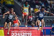 1 October 2019; Getnet Wale of Ethiopia, centre, competing in the Men's 3000m Steeple Chase, alongside, Matthew Hughes of Canada, left, and Djilali Bedrani of France during day five of the World Athletics Championships 2019 at the Khalifa International Stadium in Doha, Qatar. Photo by Sam Barnes/Sportsfile