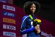 1 October 2019; Vashti Cunningham of USA with her Bronze Medal after coming third in the Women's High Jump during day five of the World Athletics Championships 2019 at the Khalifa International Stadium in Doha, Qatar. Photo by Sam Barnes/Sportsfile