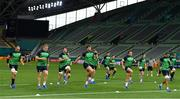 2 October 2019; Ireland players, from left, Rhys Ruddock, John Ryan, Peter O'Mahony, Andrew Porter, Sean Cronin, Jonathan Sexton, Tadhg Beirne and Jordi Murphy warm-up during their captain's run at the Kobe Misaki Stadium in Kobe, Japan. Photo by Brendan Moran/Sportsfile