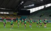 2 October 2019; Ireland players, from left, Rhys Ruddock, John Ryan, Peter O'Mahony, Jack Carty, Andrew Porter, Jacob Stockdale, Sean Cronin, Tadhg Beirne and Niall Scannell warm-up during their captain's run at the Kobe Misaki Stadium in Kobe, Japan. Photo by Brendan Moran/Sportsfile