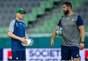 2 October 2019; Head coach Joe Schmidt, left, with defence coach Andy Farrell during Ireland Rugby captain's run at the Kobe Misaki Stadium in Kobe, Japan. Photo by Brendan Moran/Sportsfile