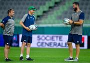2 October 2019; Head coach Joe Schmidt, centre, with kicking coach Richie Murphy, left, and defence coach Andy Farrell during Ireland Rugby captain's run at the Kobe Misaki Stadium in Kobe, Japan. Photo by Brendan Moran/Sportsfile