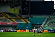 2 October 2019; Head coach Joe Schmidt, left, with kicking coach Richie Murphy and defence coach Andy Farrell, right, during Ireland Rugby captain's run at the Kobe Misaki Stadium in Kobe, Japan. Photo by Brendan Moran/Sportsfile