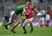 10 August 2019; Jack Cahalane of Cork in action against Oisín Tunney of Mayo during the Electric Ireland GAA Football All-Ireland Minor Championship Semi-Final match between Cork and Mayo at Croke Park in Dublin. Photo by Piaras Ó Mídheach/Sportsfile