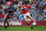 10 August 2019; Conor Corbett of Cork takes a shot on goal against Mayo goalkeeper Luke Jennings during the Electric Ireland GAA Football All-Ireland Minor Championship Semi-Final match between Cork and Mayo at Croke Park in Dublin. Photo by Piaras Ó Mídheach/Sportsfile