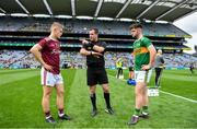 11 August 2019; Refere Martin McNally with team captains Jonathan McGrath of Galway and Kerry captain Jack O'Connor before the Electric Ireland GAA Football All-Ireland Minor Championship Semi-Final match between Kerry and Galway at Croke Park in Dublin. Photo by Piaras Ó Mídheach/Sportsfile