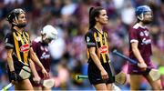 8 September 2019; Kilkenny players Katie Power, left, and Davina Tobin in the parade before the Liberty Insurance All-Ireland Senior Camogie Championship Final match between Galway and Kilkenny at Croke Park in Dublin. Photo by Piaras Ó Mídheach/Sportsfile