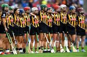8 September 2019; Kilkenny players stand for Amhrán na bhFiann before the Liberty Insurance All-Ireland Senior Camogie Championship Final match between Galway and Kilkenny at Croke Park in Dublin. Photo by Piaras Ó Mídheach/Sportsfile
