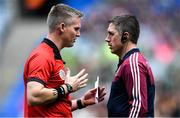 8 September 2019; Referee Ray Kelly with Galway manager Cathal Murray before the Liberty Insurance All-Ireland Senior Camogie Championship Final match between Galway and Kilkenny at Croke Park in Dublin. Photo by Piaras Ó Mídheach/Sportsfile