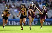 8 September 2019; Aoife Doyle of Kilkenny in action against Niamh Hanniffy of Galway during the Liberty Insurance All-Ireland Senior Camogie Championship Final match between Galway and Kilkenny at Croke Park in Dublin. Photo by Piaras Ó Mídheach/Sportsfile