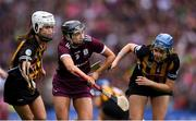 8 September 2019; Niamh Kilkenny of Galway in action against Davina Tobin, left, and Claire Phelan of Kilkenny during the Liberty Insurance All-Ireland Senior Camogie Championship Final match between Galway and Kilkenny at Croke Park in Dublin. Photo by Piaras Ó Mídheach/Sportsfile