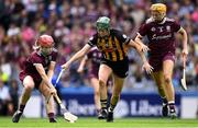 8 September 2019; Catriona Cormican of Galway, supported by team-mate Sarah Dervan, right, in action against Denise Gaule of Kilkenny during the Liberty Insurance All-Ireland Senior Camogie Championship Final match between Galway and Kilkenny at Croke Park in Dublin. Photo by Piaras Ó Mídheach/Sportsfile
