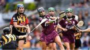 8 September 2019; Noreen Coen of Galway in action against Anna Farrell of Kilkenny, left, during the Liberty Insurance All-Ireland Senior Camogie Championship Final match between Galway and Kilkenny at Croke Park in Dublin. Photo by Piaras Ó Mídheach/Sportsfile