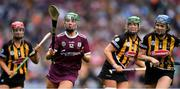 8 September 2019; Sarah Spellman of Galway in action against Kilkenny players Grace Walsh, Edwina Keane, and Claire Phelan during the Liberty Insurance All-Ireland Senior Camogie Championship Final match between Galway and Kilkenny at Croke Park in Dublin. Photo by Piaras Ó Mídheach/Sportsfile