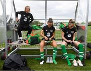 2 October 2019; Grace Maloney, left, Katie McCabe and Claire Walsh, right, during a Republic of Ireland women's team training session at The Johnstown Estate in Enfield, Co Meath. Photo by Stephen McCarthy/Sportsfile