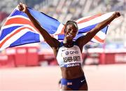 2 October 2019; Dina Asher-Smith of Great Britain celebrates after winning the Women's 200m Final during day six of the 17th IAAF World Athletics Championships Doha 2019 at the Khalifa International Stadium in Doha, Qatar. Photo by Sam Barnes/Sportsfile