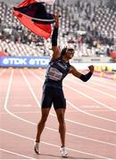 2 October 2019; Pascal Martinot-Lagarde of France celebrates after finishing third in the Men's 110m Hurdles final during day six of the 17th IAAF World Athletics Championships Doha 2019 at the Khalifa International Stadium in Doha, Qatar. Photo by Sam Barnes/Sportsfile