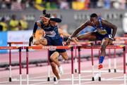 2 October 2019; Grant Holloway of USA, right, on his way to winning the Men's 110m Hurdles final, ahead of Pascal Martinot-Lagarde of France, who finished third, during day six of the 17th IAAF World Athletics Championships Doha 2019 at the Khalifa International Stadium in Doha, Qatar. Photo by Sam Barnes/Sportsfile
