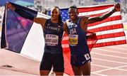 2 October 2019; Grant Holloway of USA, right, and Pascal Martinot-Lagarde of France celebrate winning gold and silver respectively in the Men's 110m Hurdles during day six of the 17th IAAF World Athletics Championships Doha 2019 at the Khalifa International Stadium in Doha, Qatar. Photo by Sam Barnes/Sportsfile
