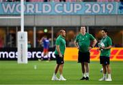 3 October 2019; Ireland players, from left, Rory Best, Chris Farrell and Joey Carbery before the 2019 Rugby World Cup Pool A match between Ireland and Russia at the Kobe Misaki Stadium in Kobe, Japan. Photo by Brendan Moran/Sportsfile