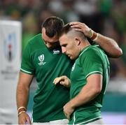 3 October 2019; Andrew Conway of Ireland celebrates after scoring his side's fourth try with team-mate Tadhg Beirne during the 2019 Rugby World Cup Pool A match between Ireland and Russia at the Kobe Misaki Stadium in Kobe, Japan. Photo by Brendan Moran/Sportsfile