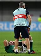 3 October 2019; Ireland team doctor Dr Ciaran Cosgrove assists Tadhg Beirne of Ireland during the 2019 Rugby World Cup Pool A match between Ireland and Russia at the Kobe Misaki Stadium in Kobe, Japan. Photo by Brendan Moran/Sportsfile
