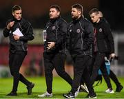 2 October 2019; Bohemians manager Craig Sexton, right, with his backroom team during the UEFA Youth League First Round First Leg between Bohemians and PAOK at Dalymount Park in Dublin. Photo by David Fitzgerald/Sportsfile