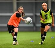 4 October 2019; Claire O'Riordan and Stephanie Roche, right, during a Republic of Ireland women's team training session at the National Indoor Arena in Abbotstown, Dublin. Photo by Stephen McCarthy/Sportsfile