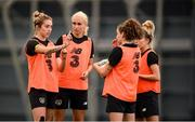 4 October 2019; Megan Connolly, left, speaks with team-mates, from left, Stephanie Roche, Leanne Kiernan and Denise O'Sullivan during a Republic of Ireland women's team training session at the National Indoor Arena in Abbotstown, Dublin.  Photo by Stephen McCarthy/Sportsfile