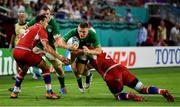 3 October 2019; Andrew Conway of Ireland is tackled by Evgeny Elgin of Russia during the 2019 Rugby World Cup Pool A match between Ireland and Russia at the Kobe Misaki Stadium in Kobe, Japan. Photo by Brendan Moran/Sportsfile