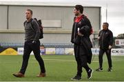 4 October 2019; Dundalk management, from left, head coach Vinny Perth, assistant head coach Ruaidhri Higgins and first team coach John Gill arrive ahead of the SSE Airtricity League Premier Division match between Dundalk and Derry City at Oriel Park in Dundalk, Louth. Photo by Ben McShane/Sportsfile