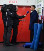 4 October 2019; Cork City head coach Neale Fenn speaks to RTÉ's Tony O'Donoghue prior to the SSE Airtricity League Premier Division match between Bohemians and Cork City at Dalymount Park in Dublin.  Photo by Stephen McCarthy/Sportsfile