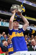 18 August 2019; Tipperary's Séamus Kennedy lifts the Liam MacCarthy Cup after the GAA Hurling All-Ireland Senior Championship Final match between Kilkenny and Tipperary at Croke Park in Dublin. Photo by Ray McManus/Sportsfile