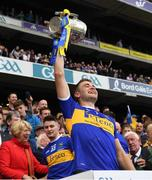 18 August 2019; Tipperary's John McGrath lifts the Liam MacCarthy Cup after the GAA Hurling All-Ireland Senior Championship Final match between Kilkenny and Tipperary at Croke Park in Dublin. Photo by Ray McManus/Sportsfile