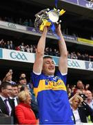 18 August 2019; Tipperary's Mark Kehoe lifts the Liam MacCarthy Cup after the GAA Hurling All-Ireland Senior Championship Final match between Kilkenny and Tipperary at Croke Park in Dublin. Photo by Ray McManus/Sportsfile