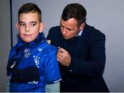 4 October 2019; Leinster fan David Kelly, aged 10, from Ballsbridge, Co. Dublin, in Autograph Alley with Leinster player Bryan Byrne ahead of the Guinness PRO14 Round 2 match between Leinster and Ospreys at the RDS Arena in Dublin. Photo by Harry Murphy/Sportsfile