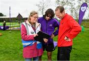 5 October 2019; Olympian Mick Clohisey, centre, Run Director Rachel Markey, left, and Event Director Alan Foley are pictured at the Father Collins parkrun at Father Collins park, The Hole in The Wall Rd, Dublin, where Vhi hosted a special event to celebrate their partnership with parkrun Ireland. Mick was on hand to lead the warm up for parkrun participants before completing the 5km free event. Parkrunners enjoyed refreshments post event at the Vhi Rehydrate, Relax, Refuel and Reward areas. Parkrun in partnership with Vhi support local communities in organising free, weekly, timed 5k runs every Saturday at 9.30am. To register for a parkrun near you visit www.parkrun.ie. Photo by Seb Daly/Sportsfile