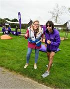 5 October 2019; Olympian Mick Clohisey, right, and Run Director Rachel Markey are pictured at the Father Collins parkrun at Father Collins park, The Hole in The Wall Rd, Dublin, where Vhi hosted a special event to celebrate their partnership with parkrun Ireland. Mick was on hand to lead the warm up for parkrun participants before completing the 5km free event. Parkrunners enjoyed refreshments post event at the Vhi Rehydrate, Relax, Refuel and Reward areas. Parkrun in partnership with Vhi support local communities in organising free, weekly, timed 5k runs every Saturday at 9.30am. To register for a parkrun near you visit www.parkrun.ie. Photo by Seb Daly/Sportsfile