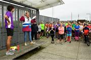 5 October 2019; Run Director Rachel Markey, second left, is pictured during the race briefing at the Father Collins parkrun at Father Collins park, The Hole in The Wall Rd, Dublin, where Vhi hosted a special event to celebrate their partnership with parkrun Ireland. Olympian Mick Clohisey, left, was on hand to lead the warm up for parkrun participants before completing the 5km free event. Parkrunners enjoyed refreshments post event at the Vhi Rehydrate, Relax, Refuel and Reward areas. Parkrun in partnership with Vhi support local communities in organising free, weekly, timed 5k runs every Saturday at 9.30am. To register for a parkrun near you visit www.parkrun.ie. Photo by Seb Daly/Sportsfile