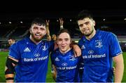 4 October 2019; Michael Milne, left, Rowan Osborne, centre, and Harry Byrne of Leinster following the Guinness PRO14 Round 2 match between Leinster and Ospreys at the RDS Arena in Dublin. Photo by Ramsey Cardy/Sportsfile