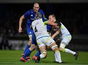 4 October 2019; Peter Dooley of Leinster is tackled by Dan Lydiate, left, and Luke Price of Ospreys during the Guinness PRO14 Round 2 match between Leinster and Ospreys at the RDS Arena in Dublin. Photo by Seb Daly/Sportsfile
