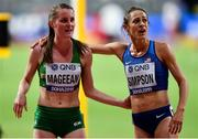 5 October 2019; Ciara Mageean of Ireland, left, with Jenny Simpson of USA after competing in the Women's 1500m Final during day nine of the 17th IAAF World Athletics Championships Doha 2019 at the Khalifa International Stadium in Doha, Qatar. Photo by Sam Barnes/Sportsfile