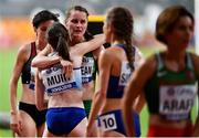 5 October 2019; Ciara Mageean of Ireland with Laura Muir of Great Britain embrace after competing in the Women's 1500m Final during day nine of the 17th IAAF World Athletics Championships Doha 2019 at the Khalifa International Stadium in Doha, Qatar. Photo by Sam Barnes/Sportsfile